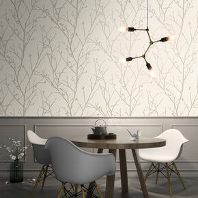 Water Silk Sprig Ivory Wallpaper, , wallpaperIT