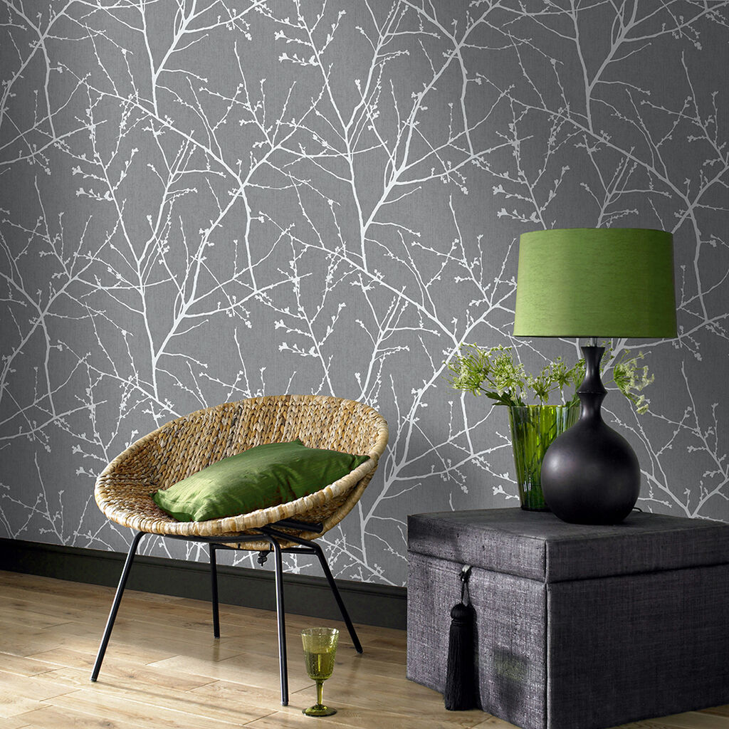 Innocence Charcoal and Silver Wallpaper, , wallpaperIT