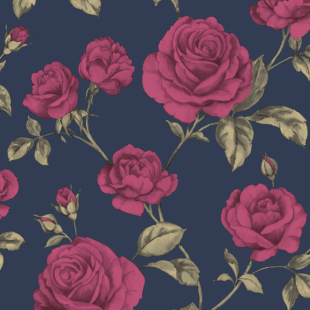 Countess Navy Wallpaper Blue Wallpaper Boutique