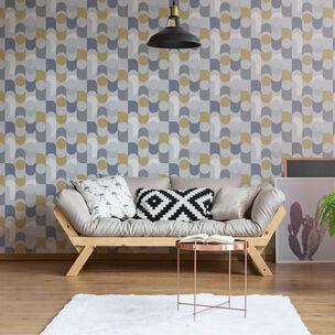 Retro Geo Navy & Yellow Wallpaper, , wallpaperIT