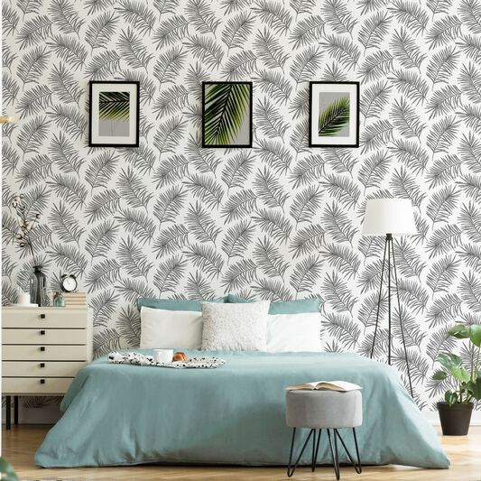 Scandi Leaf White & Grey Forest Wallpaper, , wallpaperIT