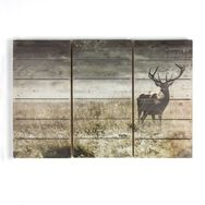 Highland Stag Print On Wood Wall Art, , wallpaperIT
