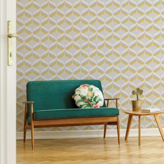 Fresco Retro Ogee Ochre Geometric Wallpaper, , wallpaperIT