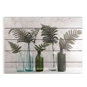 Botanical Bottles Print On Wood Wall Art, , wallpaperIT