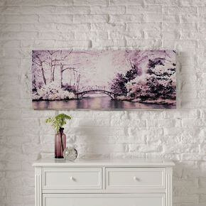 Watercolour Forest Bridge Printed Canvas Wall Art, , wallpaperIT