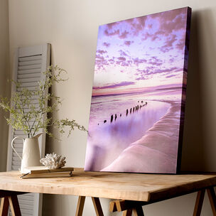 Metallic Serenity Shores Printed Canvas Wall Art, , wallpaperIT