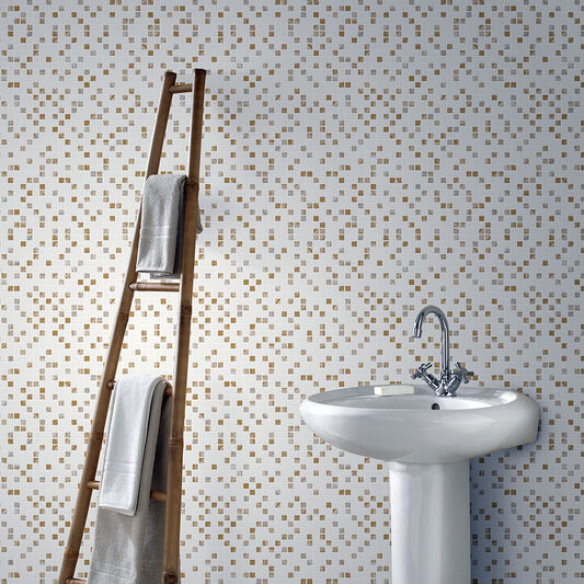 Aroura Tile White and Gold Wallpaper, , wallpaperIT