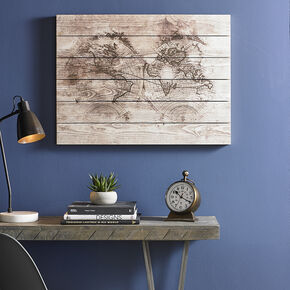 Wood World Map Print On Wood Wall Art, , wallpaperIT