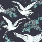Crane Dark Blue Oriental Wallpaper