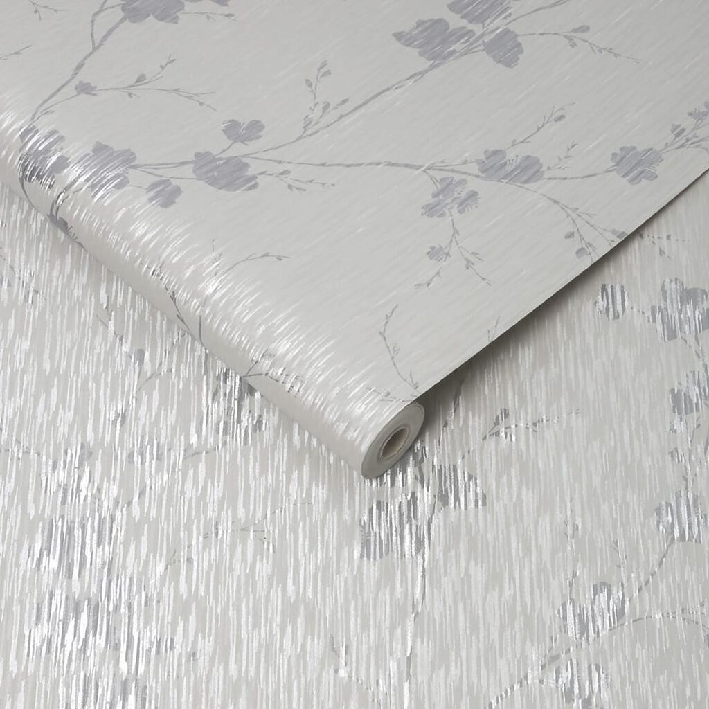 Theia Blossom Silver Wallpaper, , wallpaperIT