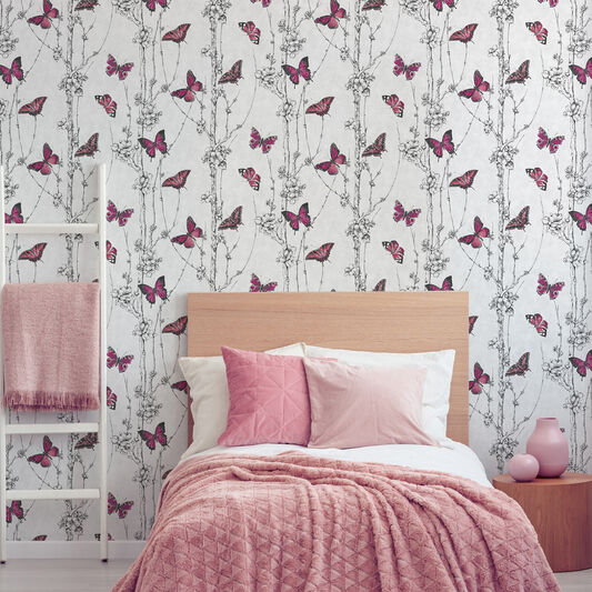 Flutterby Forest Pink Wallpaper, , wallpaperIT
