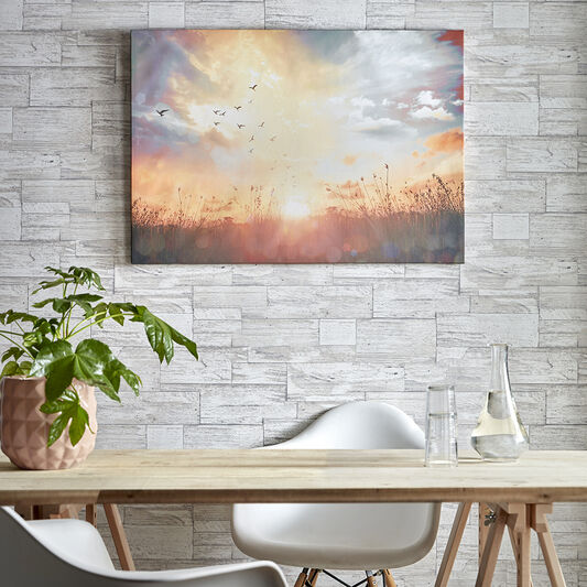 Serene Sunset Meadow Printed Canvas Wall Art, , wallpaperIT