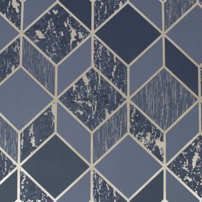 Vittorio Navy & Pale Gold Geometric Wallpaper, , wallpaperIT