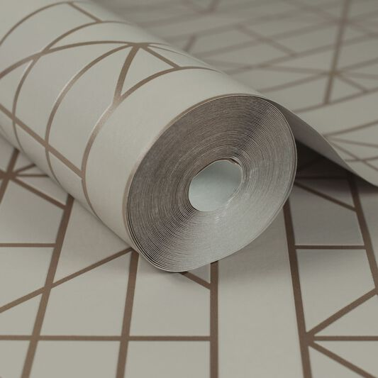 Linear Taupe and Rose Gold Wallpaper, , wallpaperIT