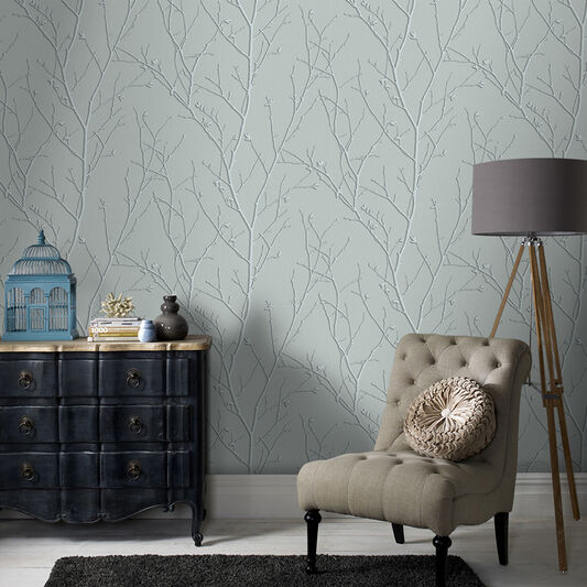 Water Silk Sprig Teal Wallpaper, , wallpaperIT