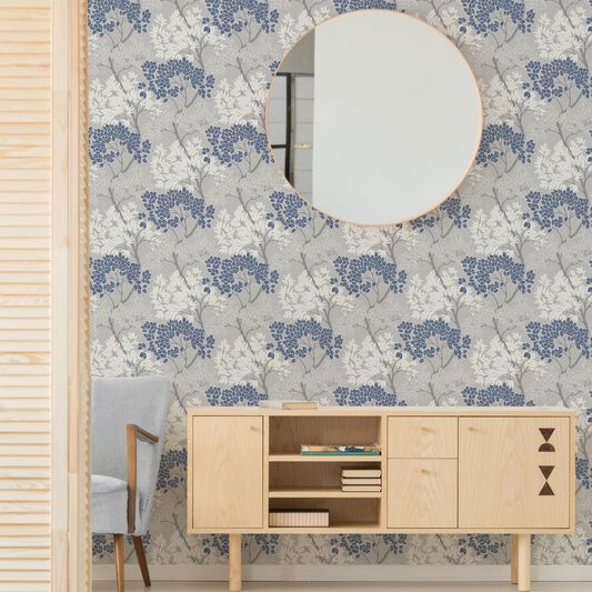 Fresco Lykke Tree Navy Floral Wallpaper, , wallpaperIT