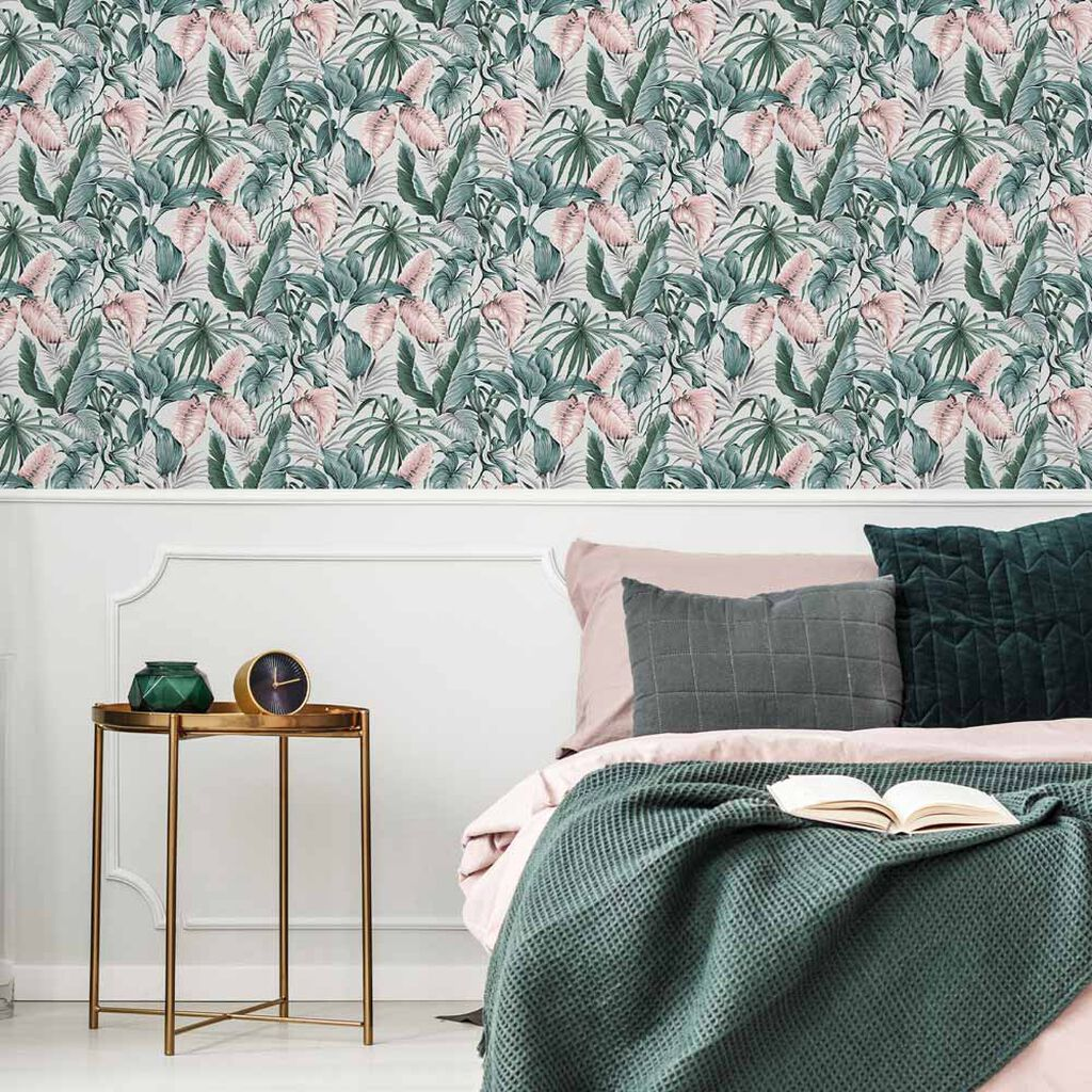 Leaves Exotique Light Grey Wallpaper, , wallpaperIT