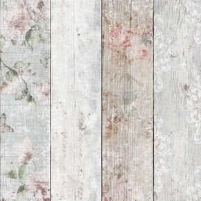 Distressed Wood Floral Wallpaper, , wallpaperIT