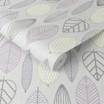 Scandi Leaf Lilac Wallpaper