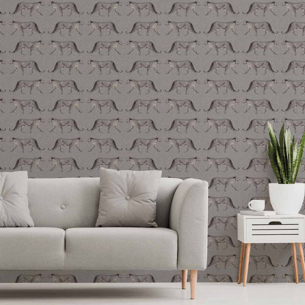Glam Leopard Charcoal Wallpaper, , wallpaperIT