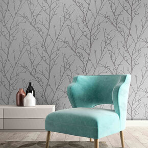 Water Silk Sprig Silver Wallpaper, , wallpaperIT