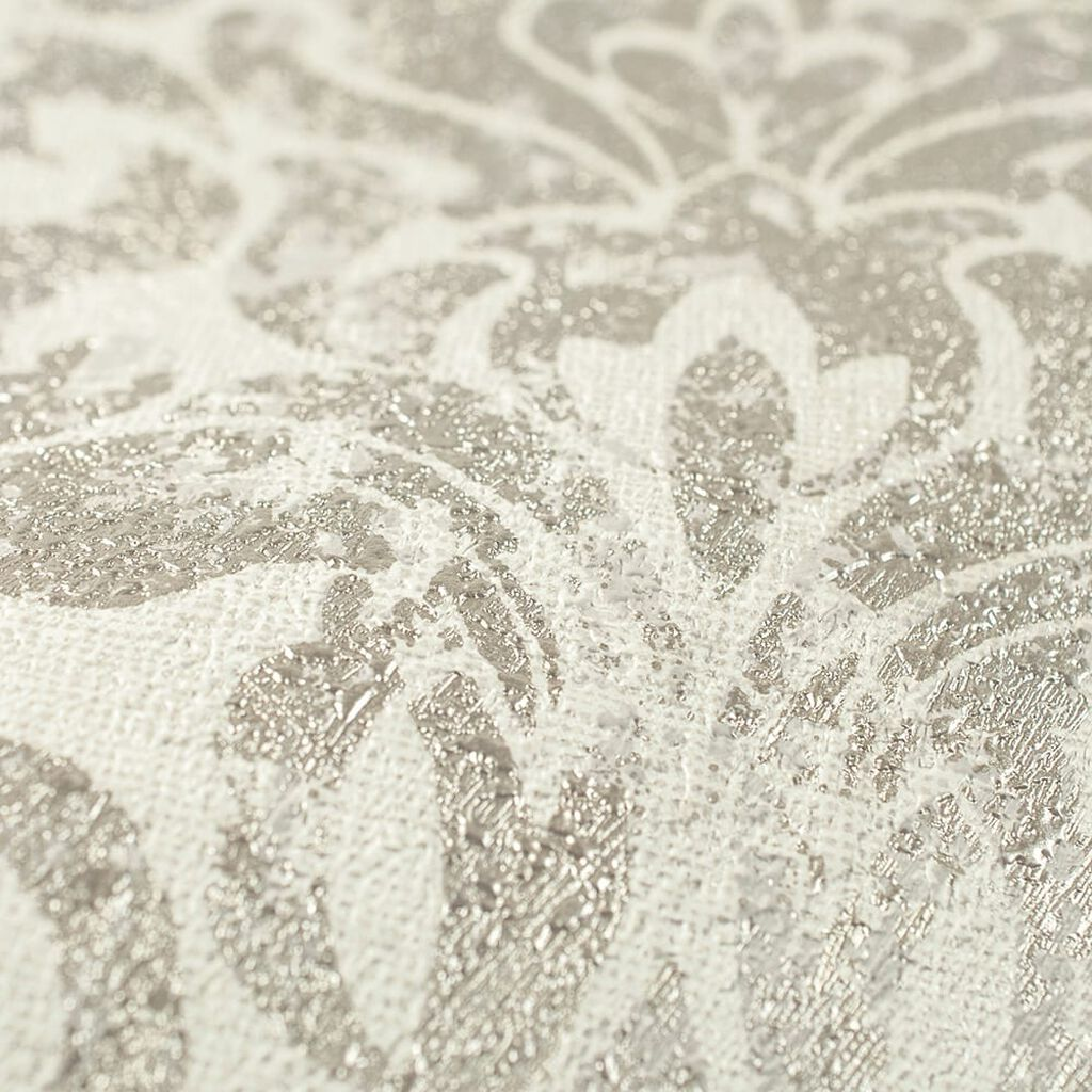 Opal Damask White and Gold Wallpaper, , wallpaperIT