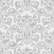 Wentworth Damask Grey & Silver Wallpaper, , wallpaperIT