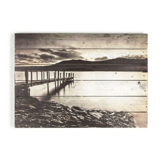 Tranquil Jetty Print On Wood Wall Art, , wallpaperIT