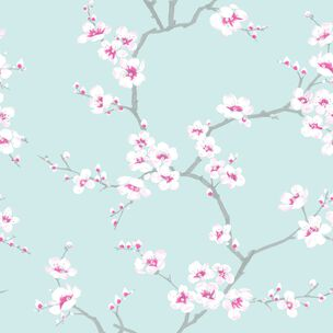 Apple Blossom Tree Teal Wallpaper, , wallpaperIT