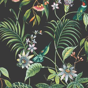 Adilah Dark Tropical Floral Wallpaper, , wallpaperIT