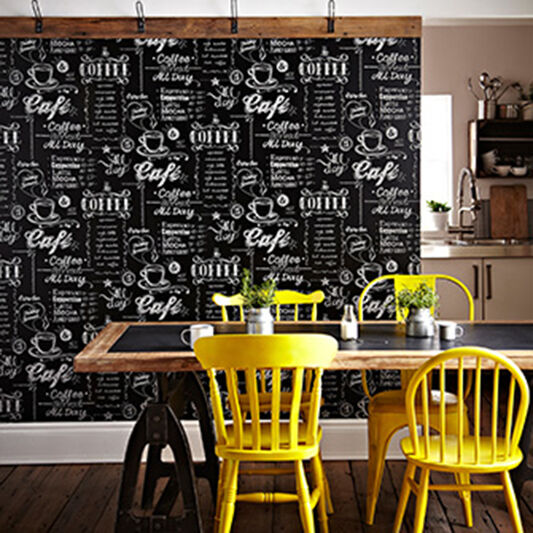 Coffee Shop Black and White Wallpaper, , wallpaperIT