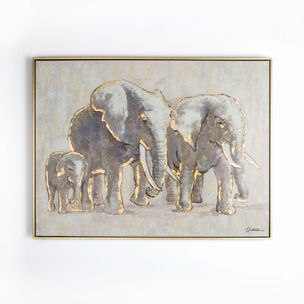 Metallic Elephant Family Handpainted Framed Canvas Wall Art, , wallpaperIT
