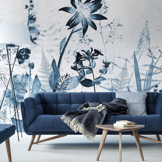 Flower Press Ink Wall Mural, , wallpaperIT