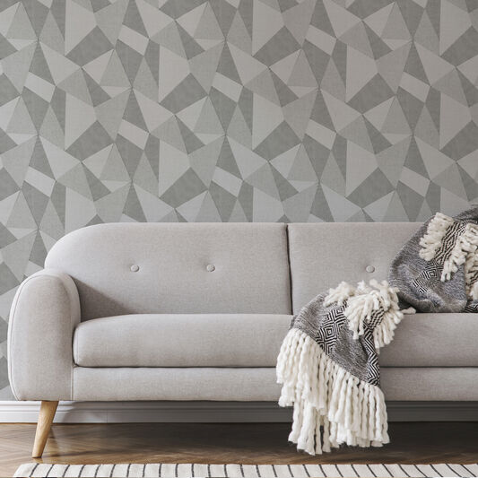 Milano Large Fractal Mid Grey Wallpaper, , wallpaperIT
