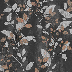 Vermeil Leaf Charcoal & Copper Wallpaper, , wallpaperIT
