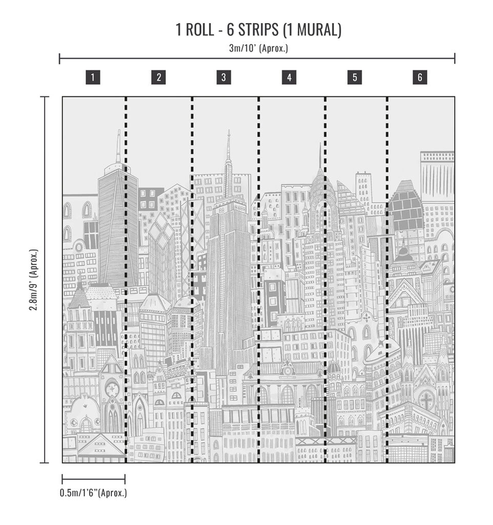 City Sketch Natural Wall Mural, , wallpaperIT