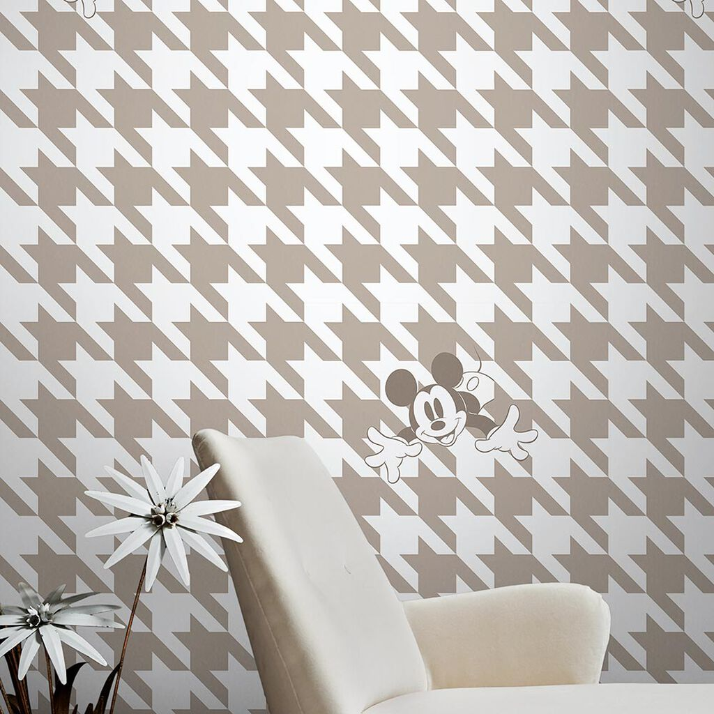 Mickey Houndstooth Taupe Wallpaper, , wallpaperIT