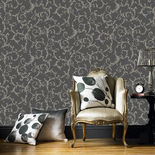 Empress Scroll Black & Gold Wallpaper, , wallpaperIT