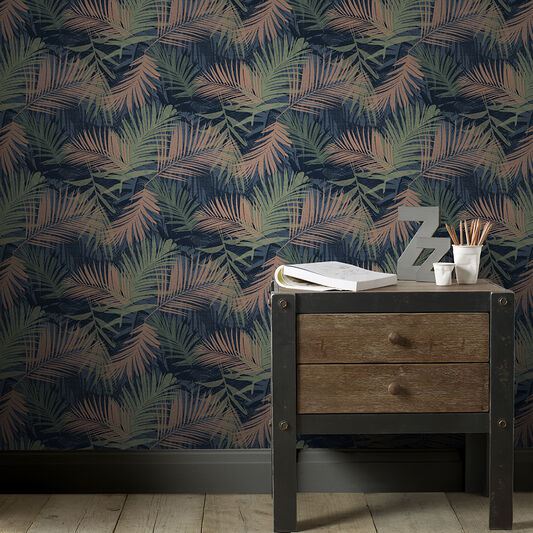 Jungle Glam Blue & Green Wallpaper, , wallpaperIT