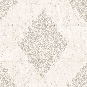 Cream & Pale Gold Cork Medallion Wallpaper, , wallpaperIT