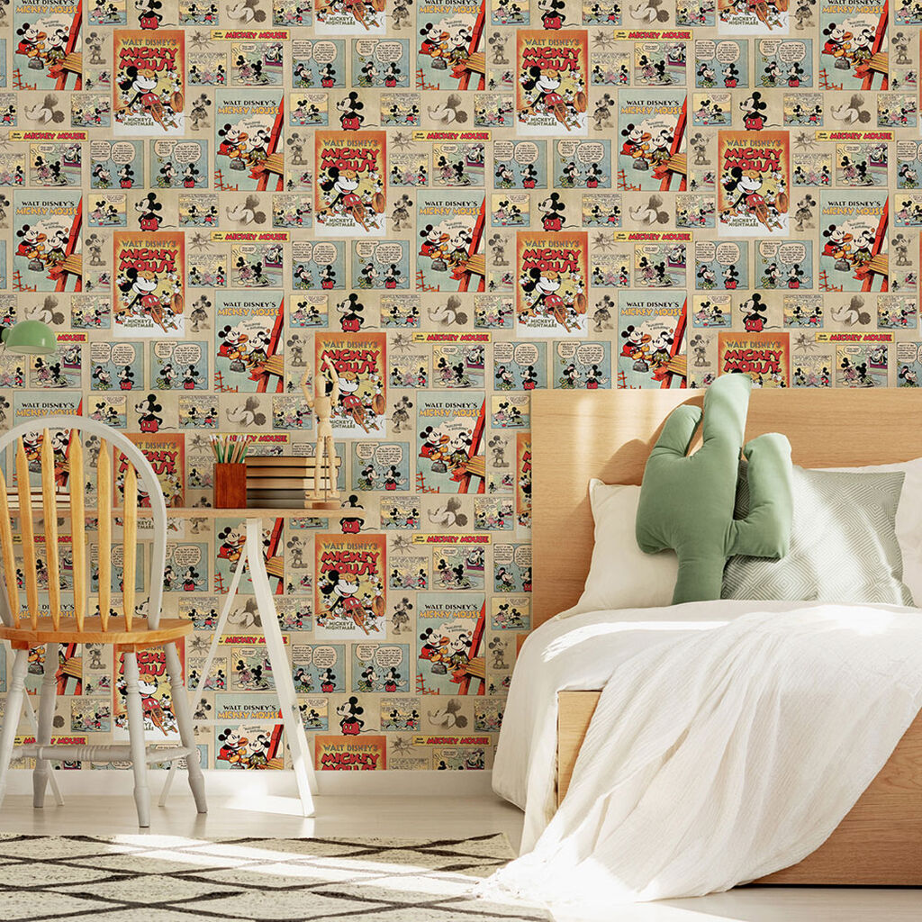 Mickey Vintage Episode Multi-coloured Wallpaper, , wallpaperIT