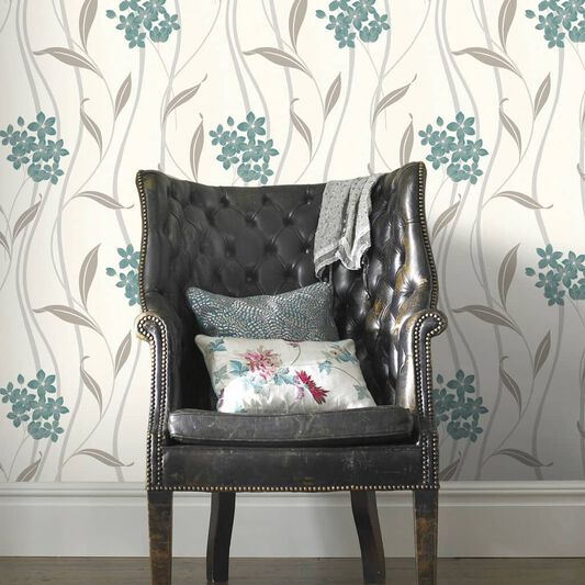 Elise Teal and Silver Wallpaper, , wallpaperIT