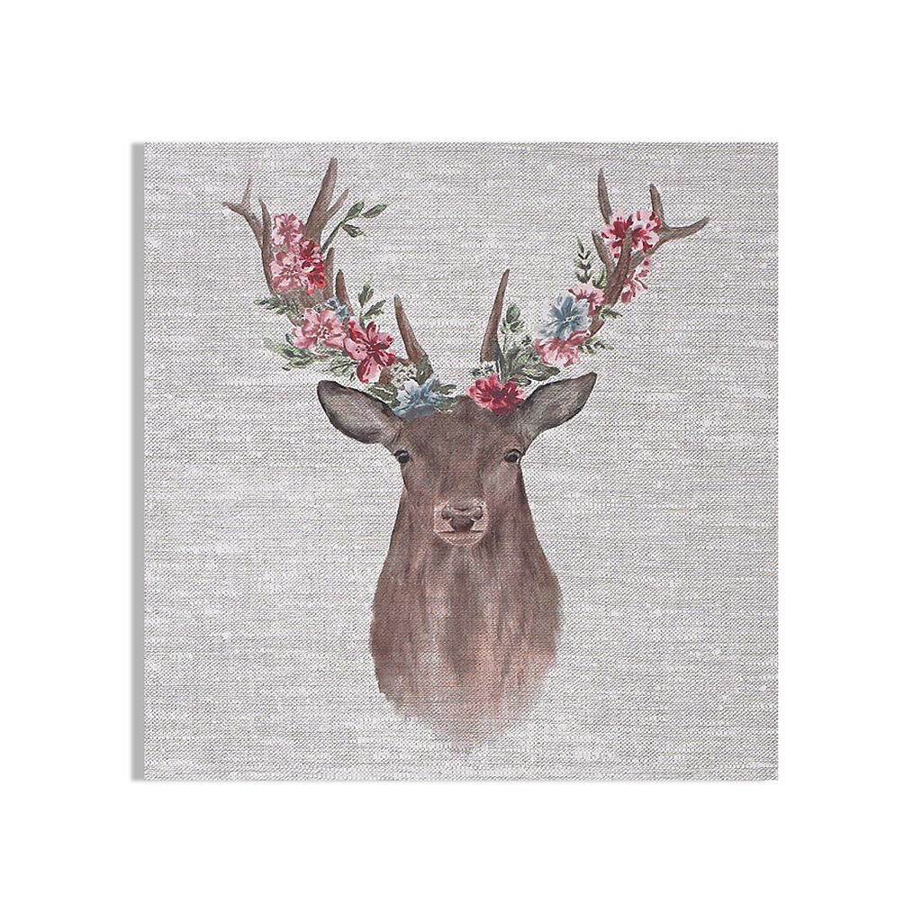 Floral Stag Printed Canvas Wall Art, , wallpaperIT