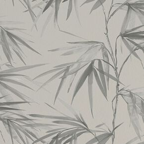 Asia Light Grey Bamboo Leaf Wallpaper, , wallpaperIT