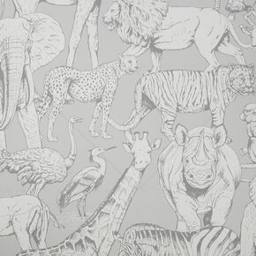 Jungle Animals Grey Wallpaper, , wallpaperIT