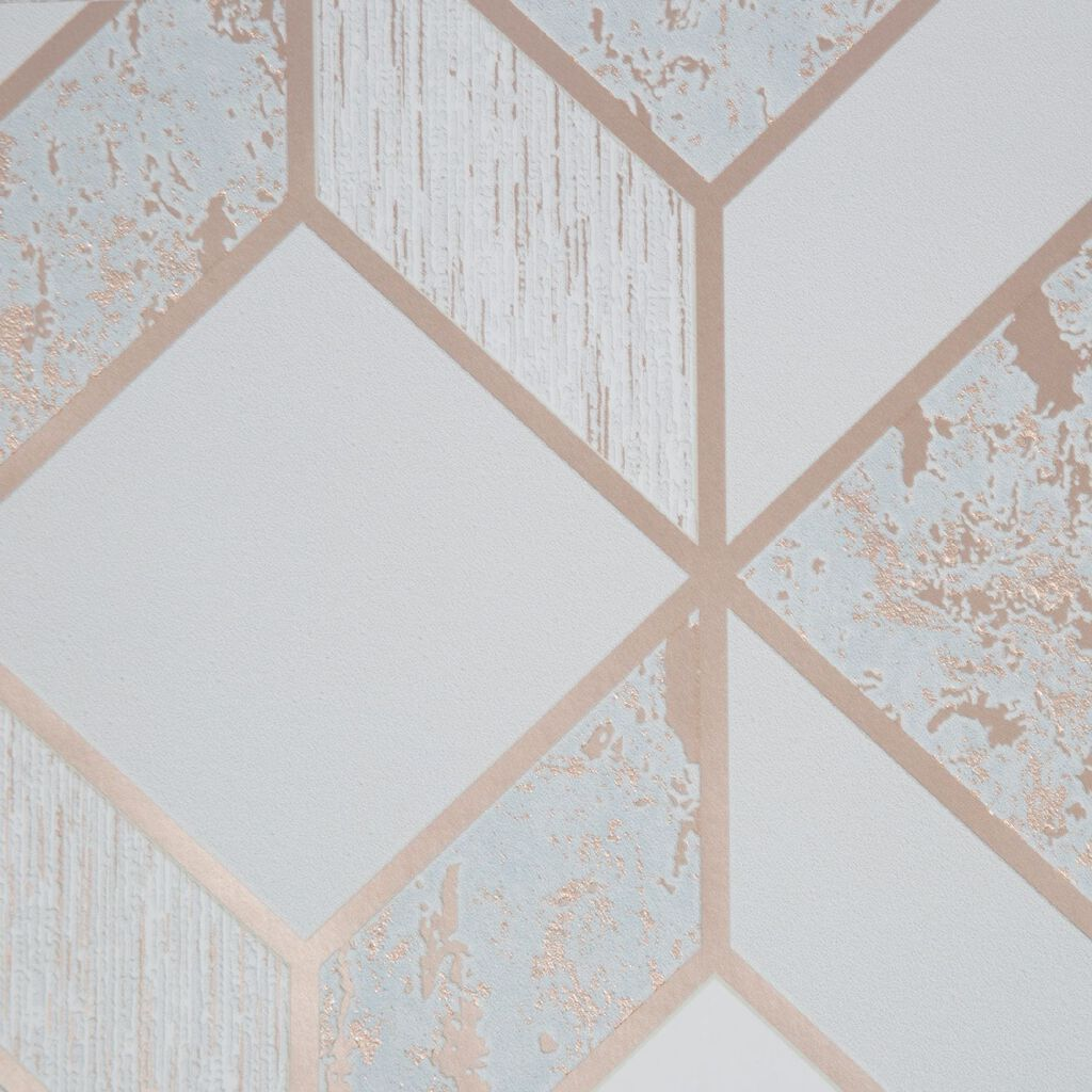 Vittorio Grey & Rose Gold Geometric Wallpaper, , wallpaperIT