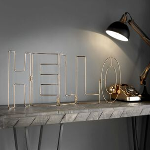 Rose Gold Hello Metal Wall Art, , wallpaperIT