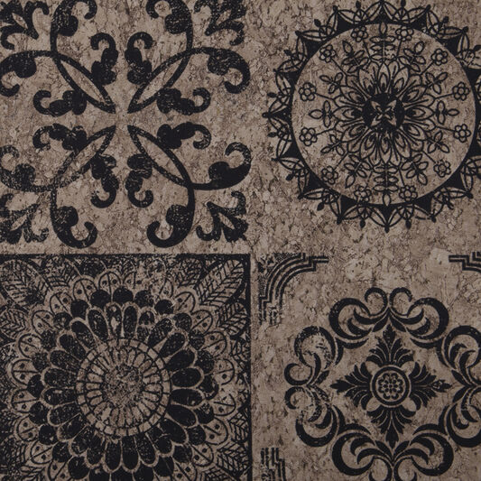 Cork Medallion Black & Beige Wallpaper, , wallpaperIT