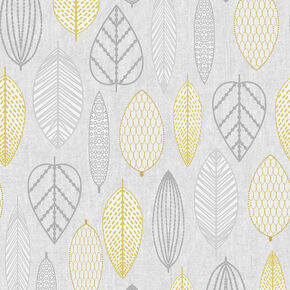 Scandi Leaf Yellow Wallpaper, , wallpaperIT