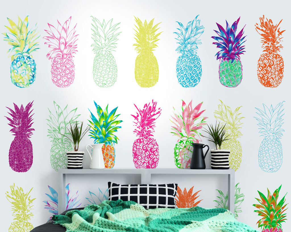 Pineapple Brights Wall Mural, , wallpaperIT